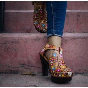 Mexican Leather Honey Hand-painted High Heels 10